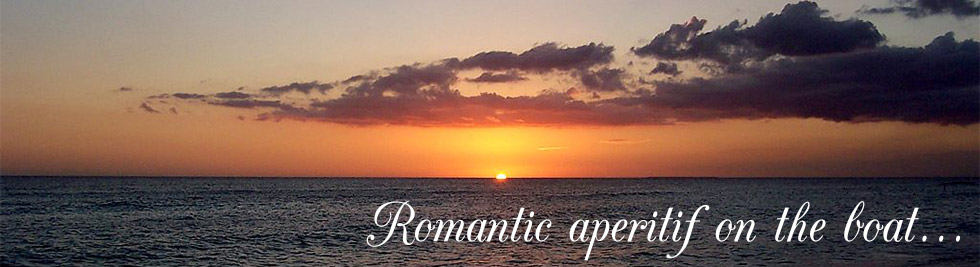 Romantic aperitif on the boat, at sunset: Ligurian Sea